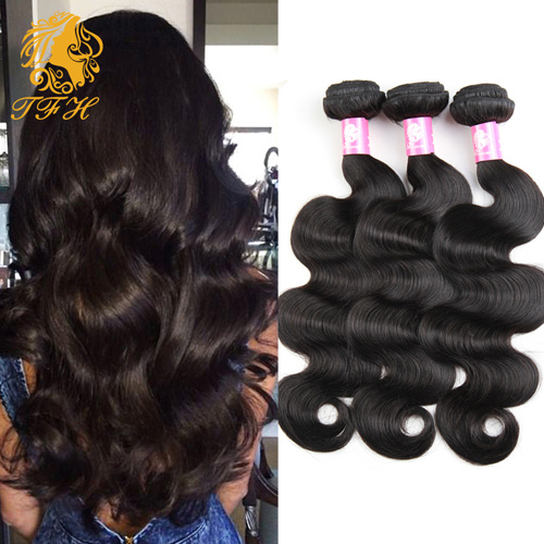 Grade 7A Indian Virgin Hair Body Wave Natural Black Color 1b, Unprocessed 3PCS Lot Raw Virgin Indian Body Wave Hair