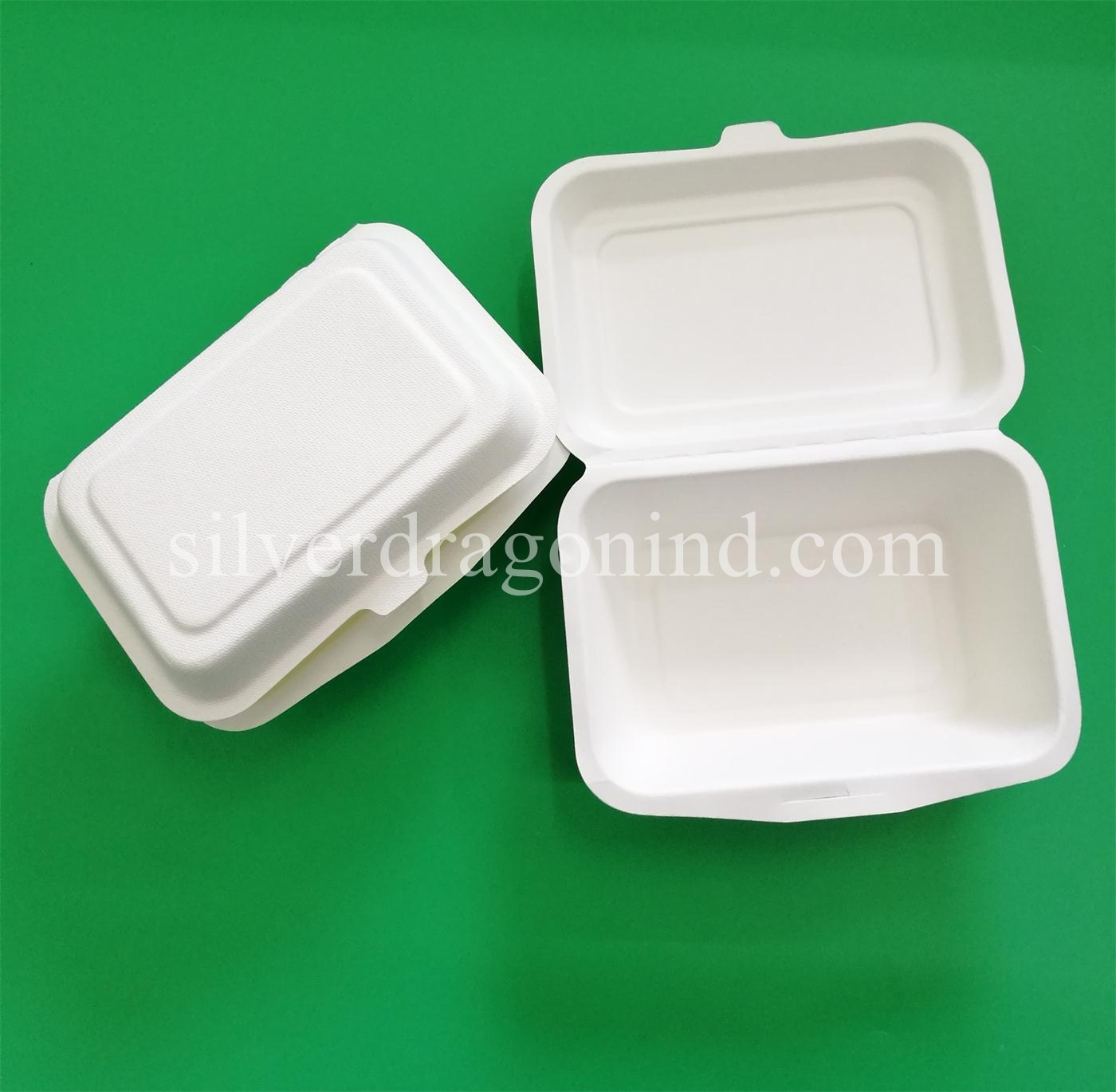 Compostable Biodegradable Sugarcane Bagasse Paper Lunch Box 600ml, Eco-Friendly