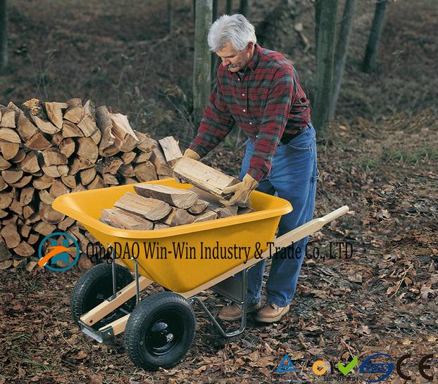 6 Cubic Foot Steel Wheelbarrow with Never Flat Tire