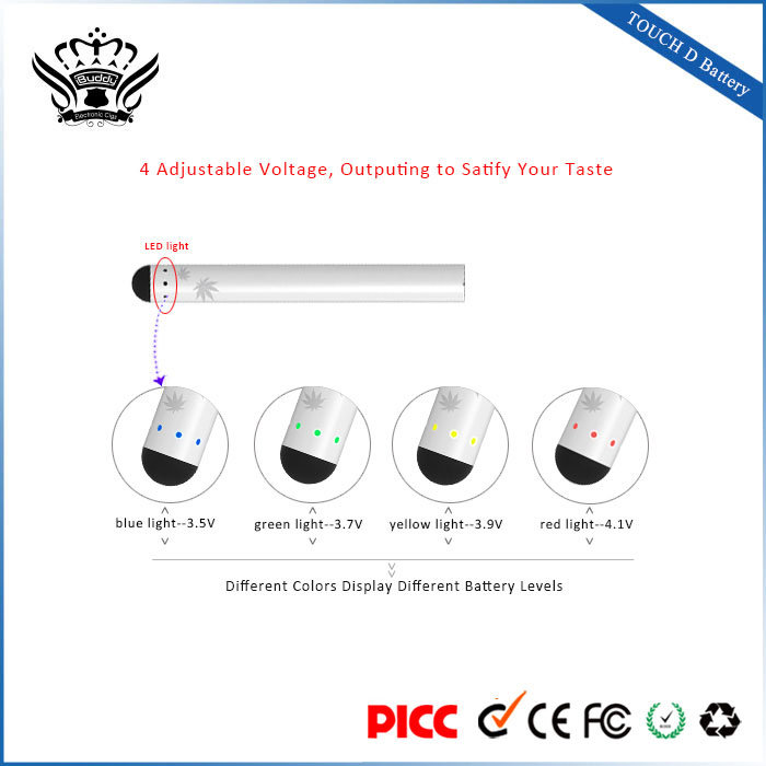 China Factory Direct Sale 510 Vape Pen Battery Ecig Slim Battery 4-Step Voltage-Adjustment