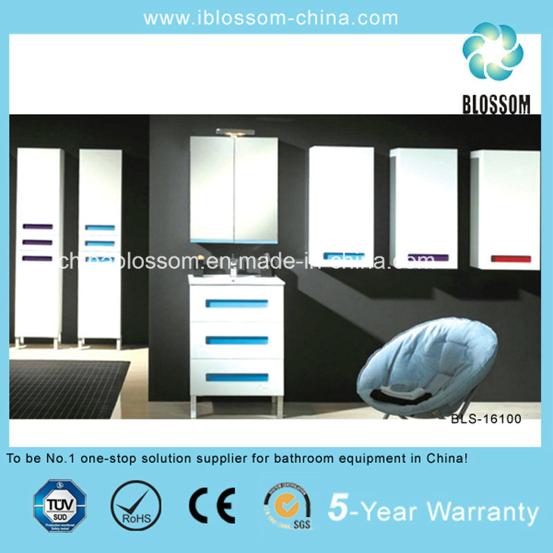 Hangzhou Factory Made Floor Mounted PVC Bathroom Vanity, Cabinet (BLS-16100)