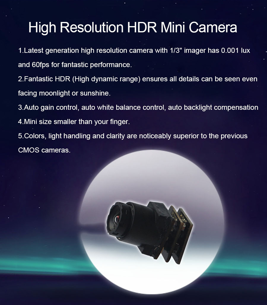 60fps 2g Weight High Dynamic Range 1000tvl 0.001lux HD Mini CCTV Camera
