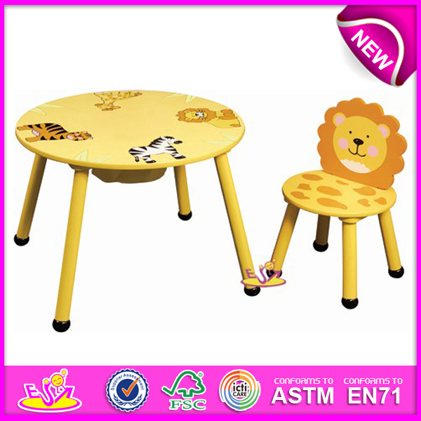 Colorful Cute Design Wooden Furniture Table and Kids Chair for Baby