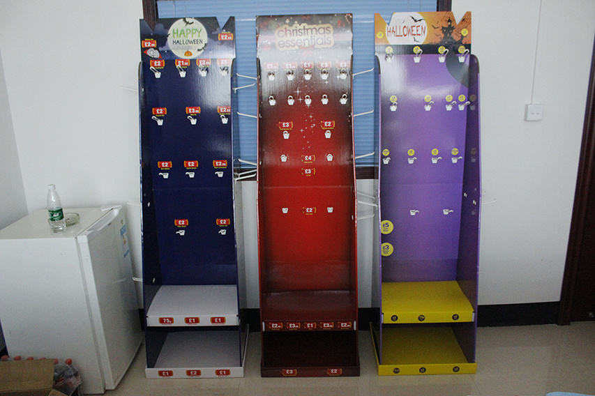 Pop Cardboard Standing Floor Display Units, POS Corrugated Store Rack