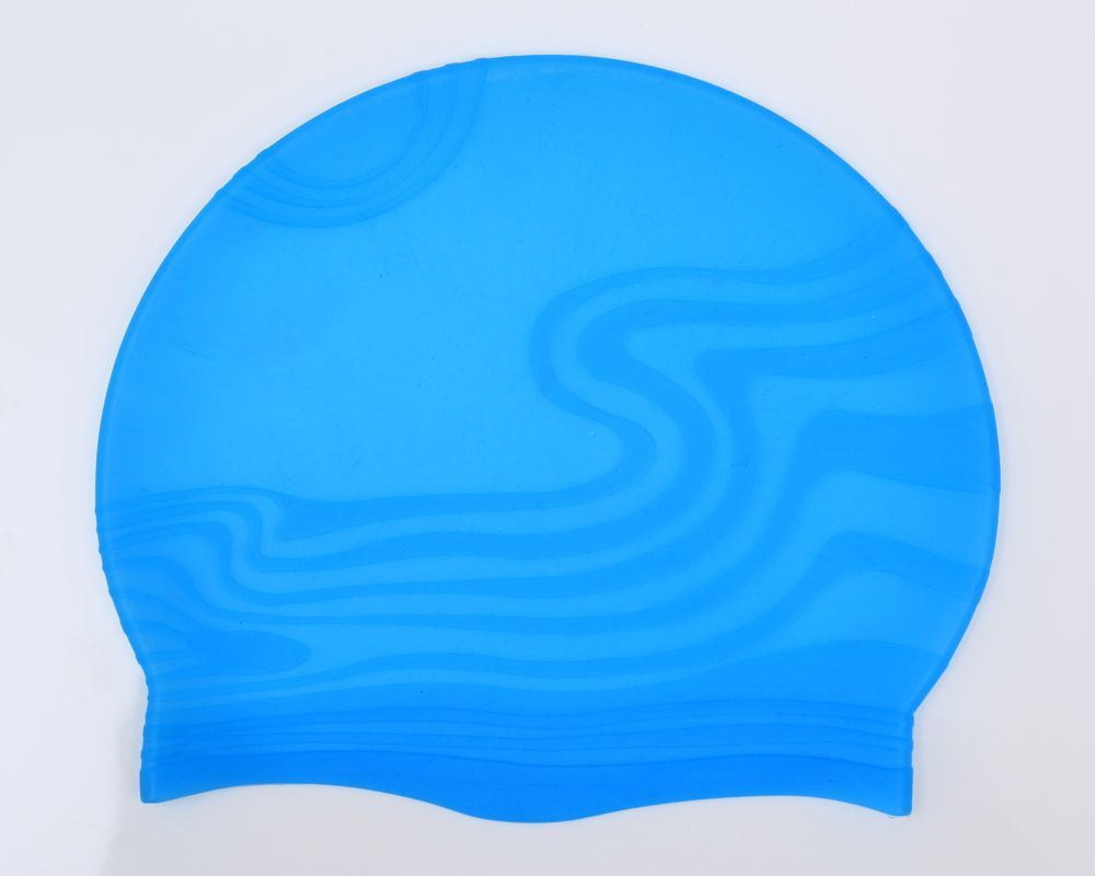Wave Shape Silicone Swimming Cap with Custom Printing