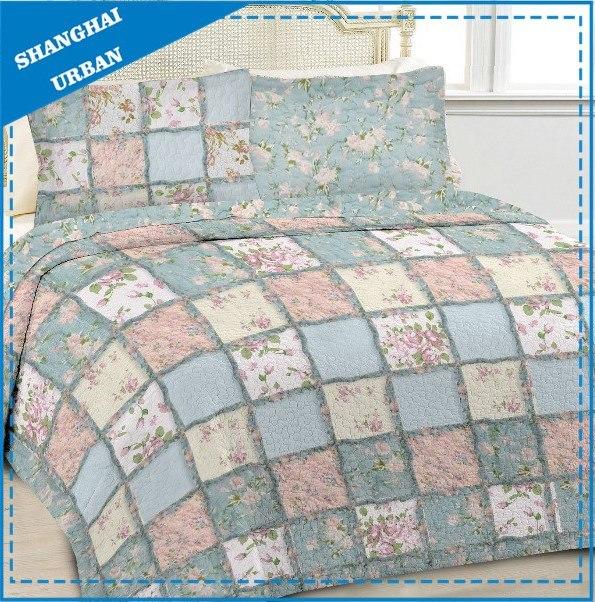 Printed Floral Cotton Patchwork Bedspread