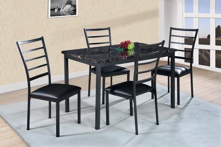 Metal Dining Set with Fake Marble Top
