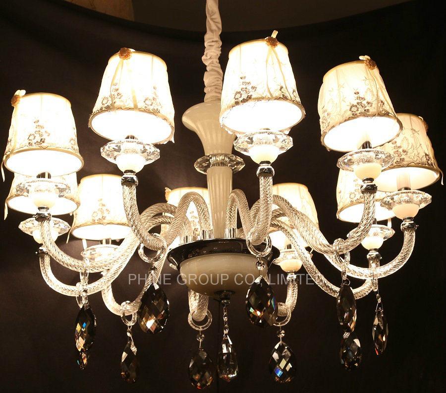 European Decoration Indoor Crystal Pendant Lighting with Fabric Shade