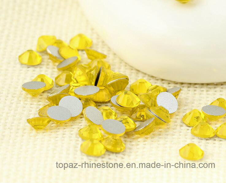 All Sizes Citrine Non Hotfix Rhinestones Flatback Glass Crystal Rhinestone Nail Art (FB-ss16 citrine 3A)