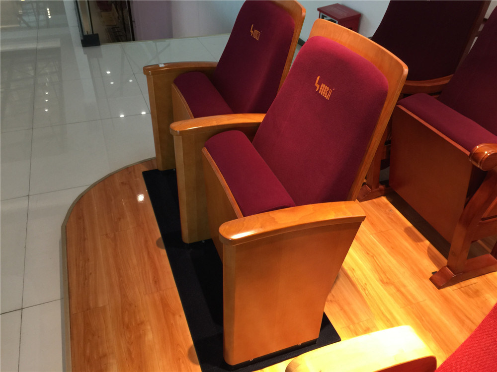 Hongji Simple Wooden Armrest Auditorium Furniture for Professional Theater Hall Seat