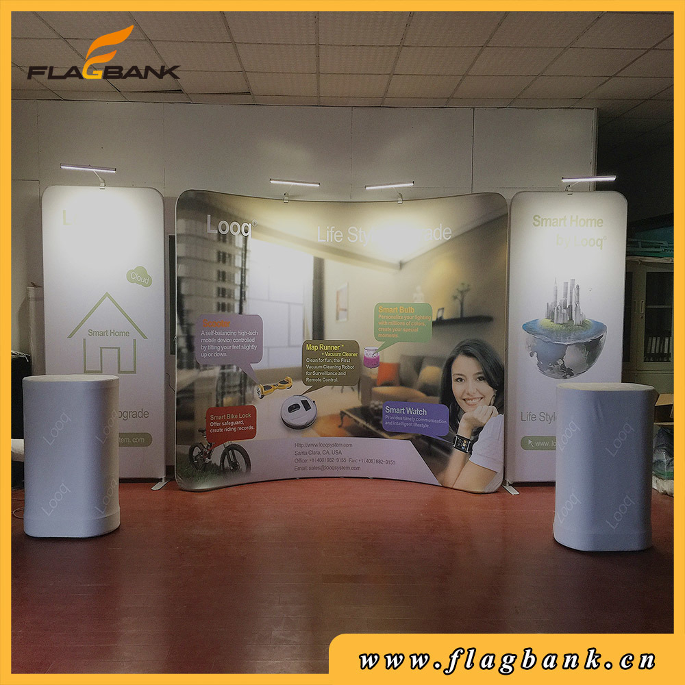 10FT Straight Indoor Fabric Waveline Banner Exhibition Display Stand