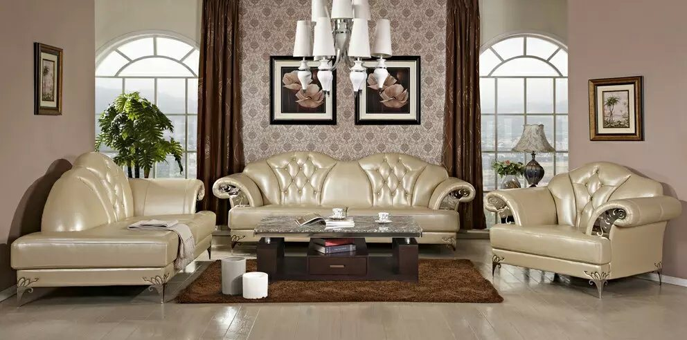 Modern Leather Sofa with European Style