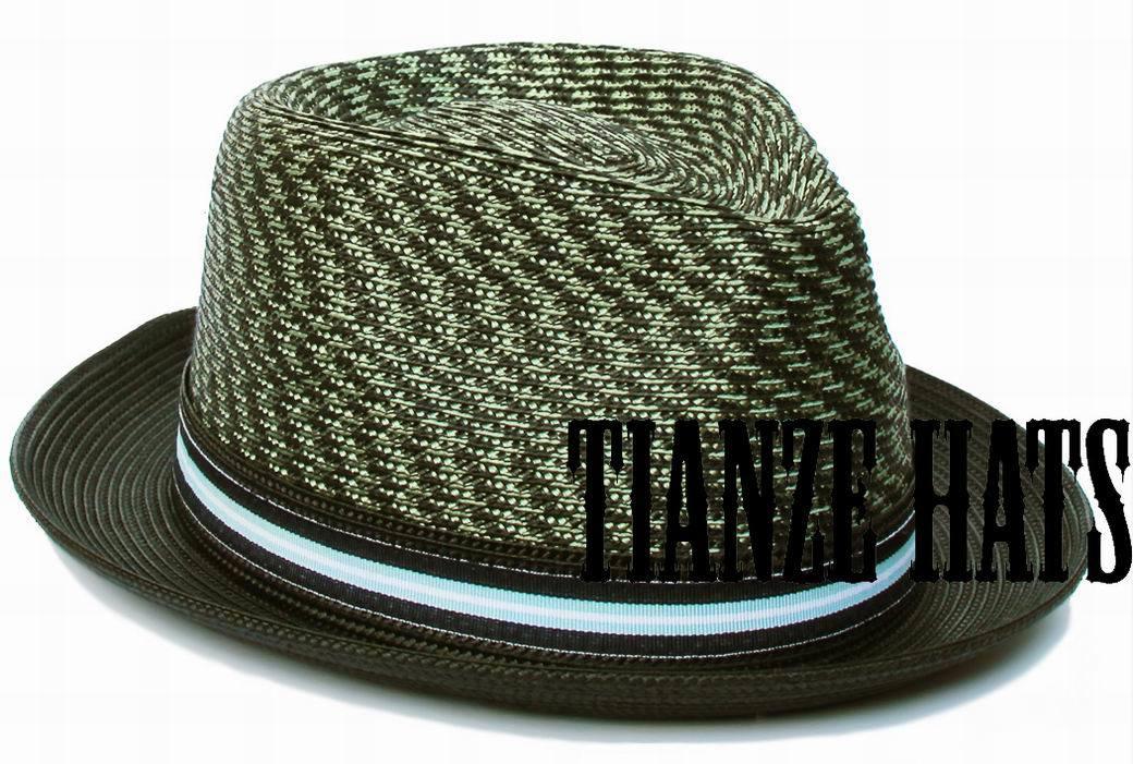 Olive Green Polypropolyn Braid Straw Hat