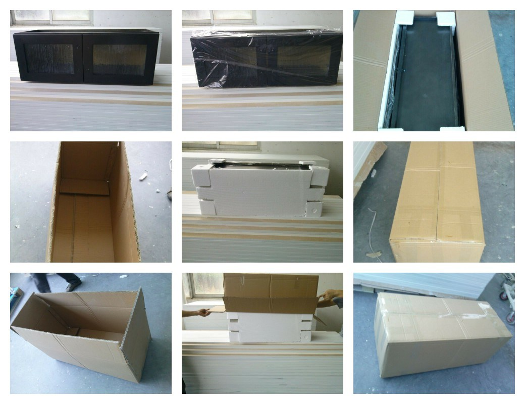 Artificial Wood Veneer Kitchen Cabinet in European Style