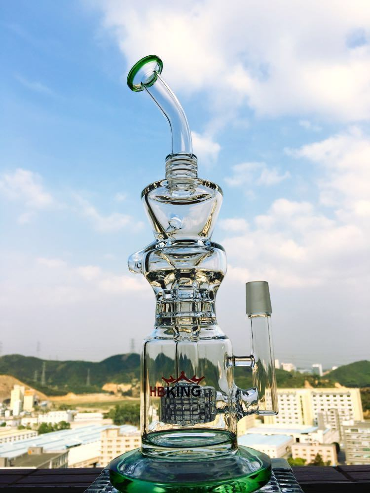 14inch 40diameter 5thickness Dual Birdcage Percolator Glass Smoking Water Pipe with Factory Price