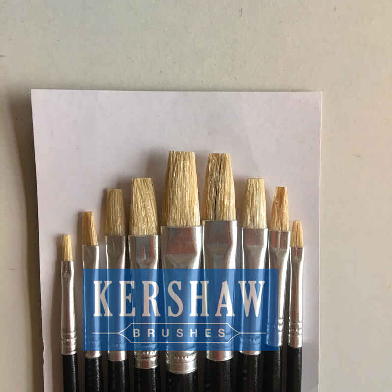 Artist Brush (ARTIST PAINTING BRUSH FLAT HEAD 9-PCS SET, blanch white bristle and wooden handle)