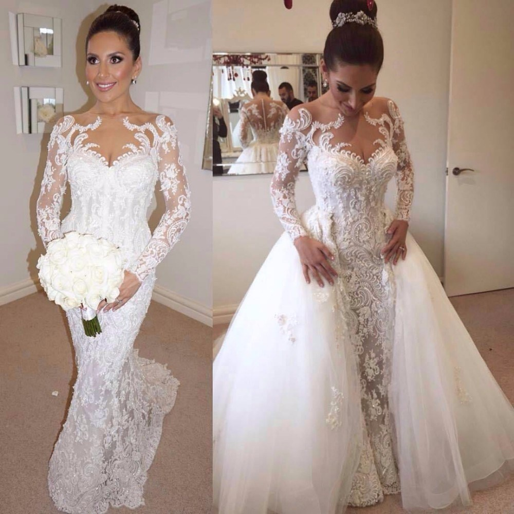 China Sheer Long Sleeves Bridal Ball Gown Panel Train Beading Arabic Wedding Dress G1725