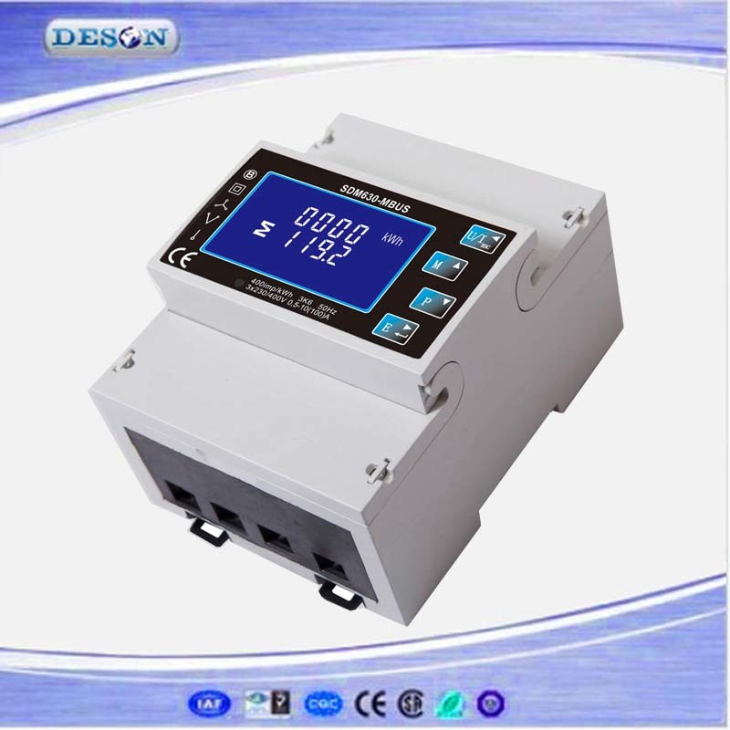 Three Phase Multifunction DIN Rail Solar Mbus Watt Hour Power Meter Sdm630-Mbus