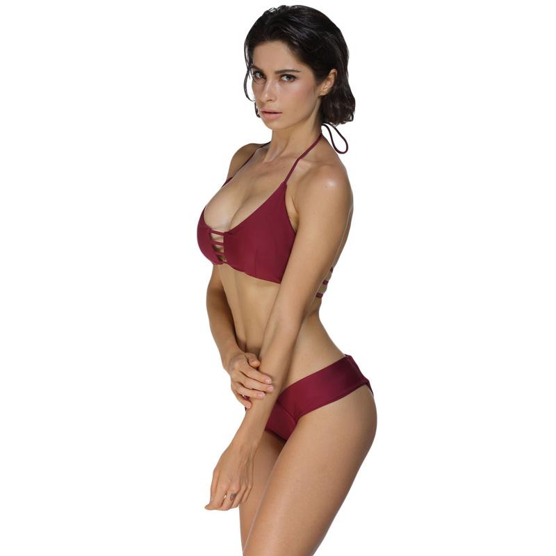 Sexy Women Maroon Cage Bralette Bikini Swimwear