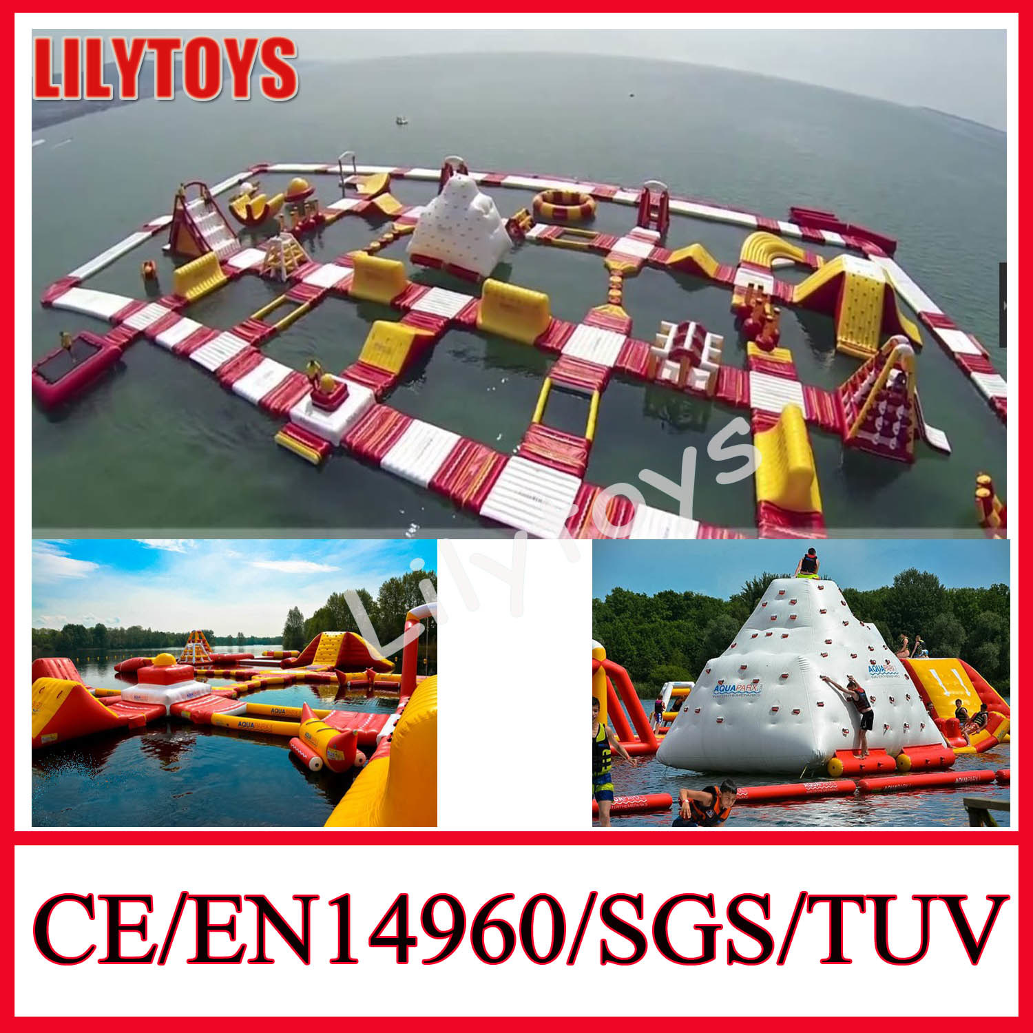 The Biggest Inflatable Water Park for Lake, Giant Inflatable Water Park SGS, CE, En15649