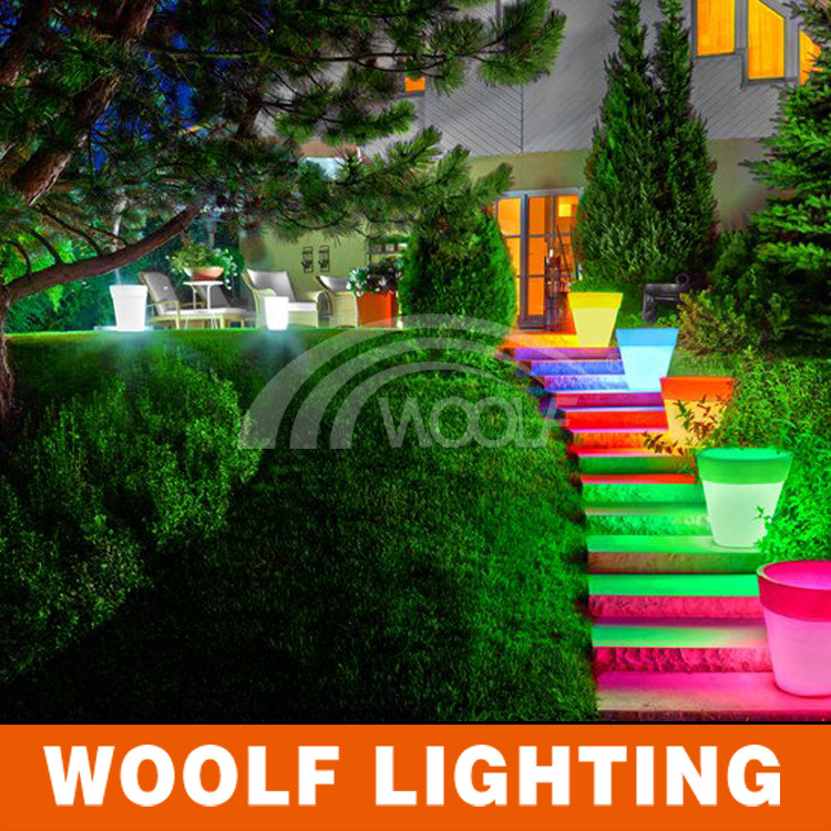 Home Decorative Resin Garden Light up LED Flower Pot