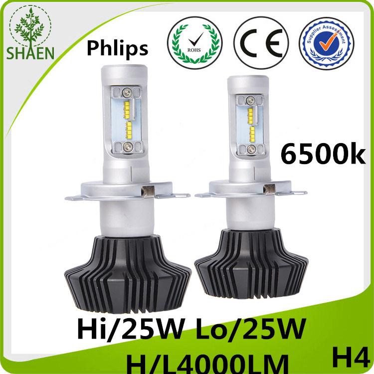 Philips 50W H4 H/L LED Car Headlight 8000lm 6500k