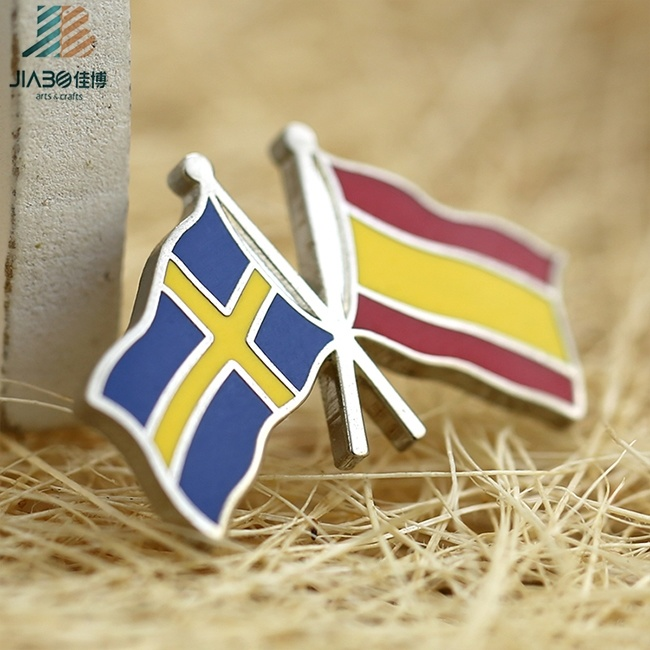 Wholesale High Polished Hard Enamel Cross Flag Lapel Pin