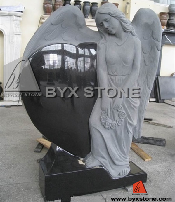 Black Granite Angel Headstone / Tombstone with Carved Heart