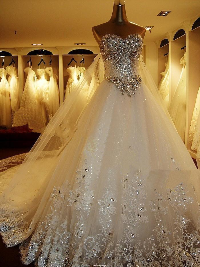 2017 Crystals Prom Evening Ball Gown Bridal Wedding Dress (WD3001)