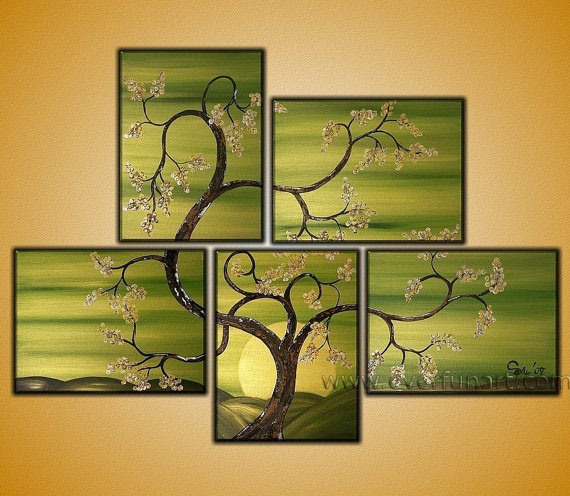 handmade modern wall canvas art landscape art tree oil painting on canvas la5045