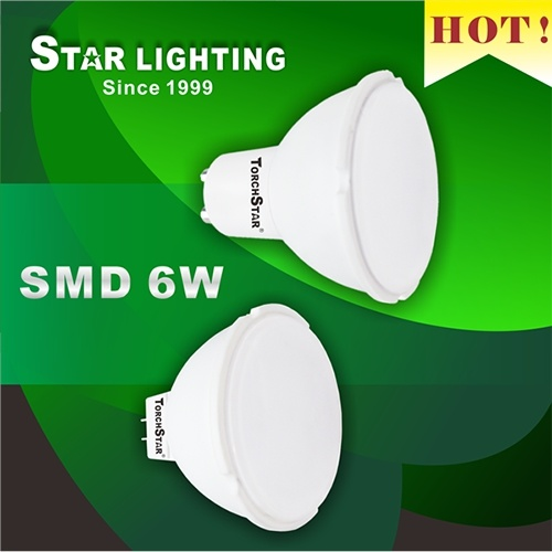 High Lumen Plastic Aluminum 6W SMD MR16 LED Spotlight