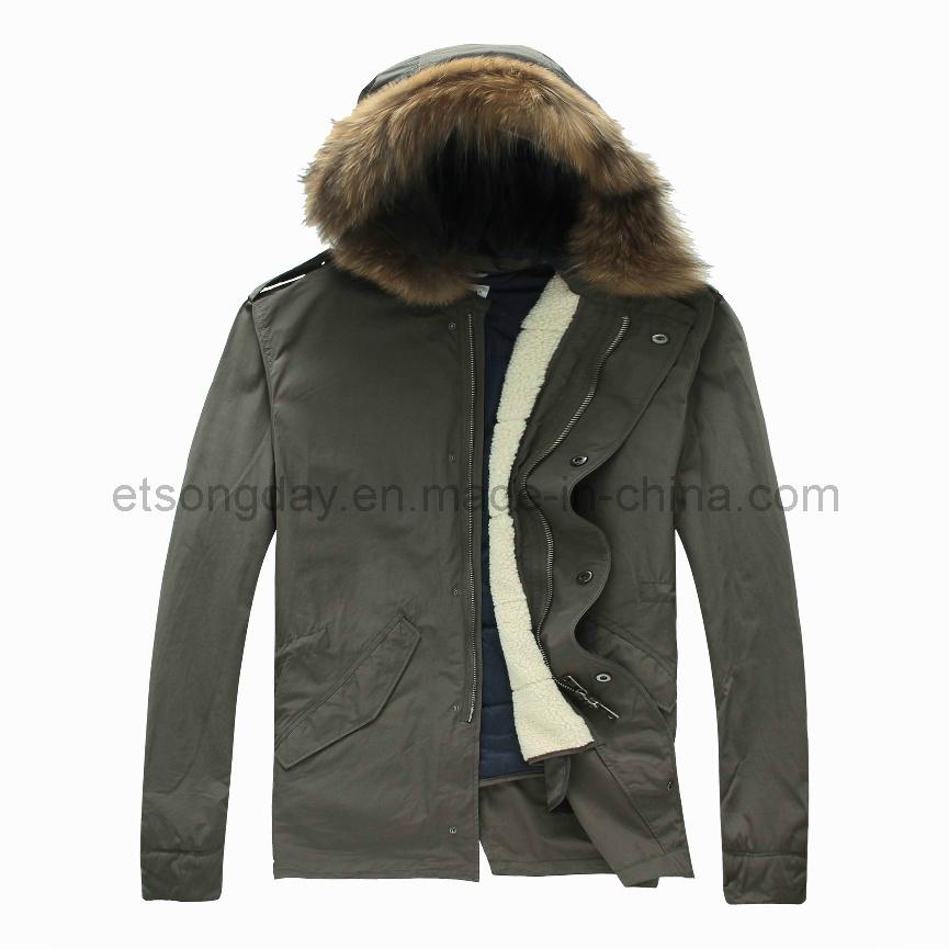 Army Green Hoody Cotton Nylon Men′s Padding Jacket with Cap (APC-EWART)
