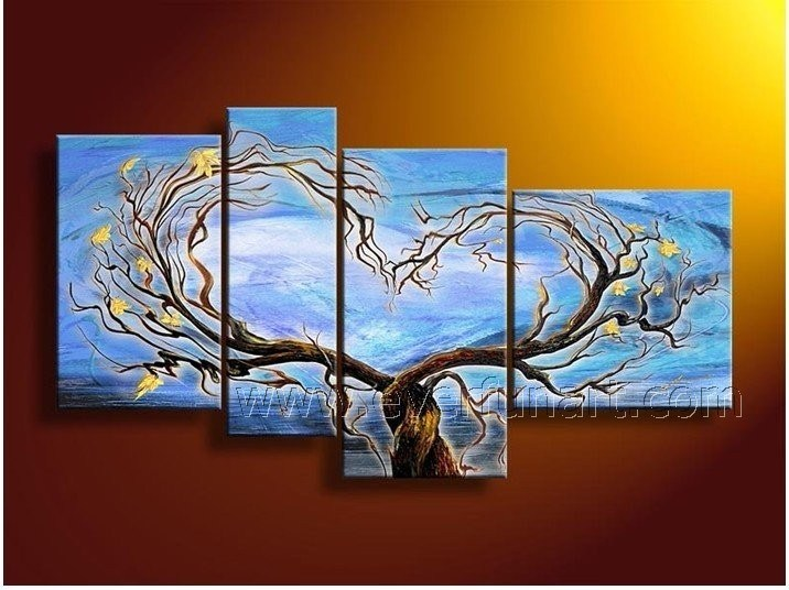 China Family Tree Wall Art Handmade Tuscany Landscape Oil ...