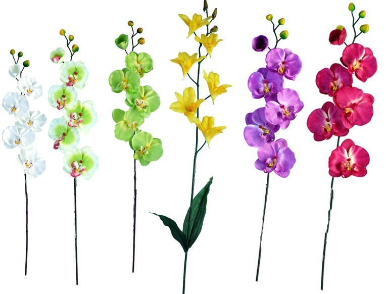 China Artificial Plastic Orchid Flower Stem Spray S94514
