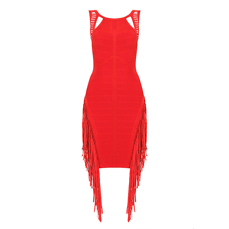 Custom High Standard Tassles Red Sexy Bandage Party Dress
