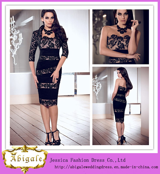 Hot Sale Sheath with Cap Sleeve Three Quarter Sleeve Knee Length Black Lace Open Back Evening Gowns (LH0006)