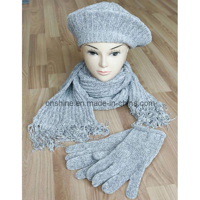 China Chenille Scarf, Beret and Glove - China Chenille ...