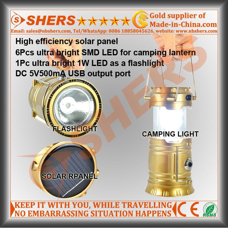 Solar LED Camping Lantern with 1W LED Flashlight, USB (SH-1995A)