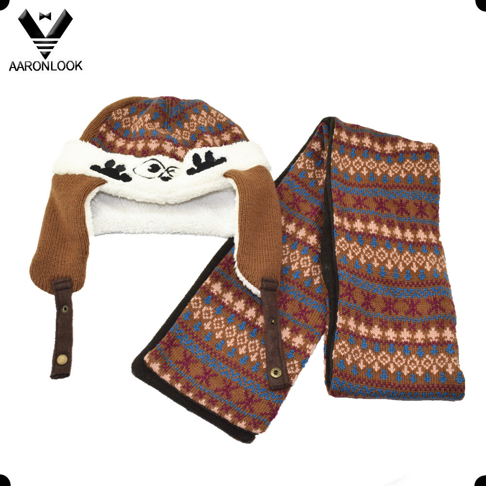 Winter Warm Jacquard Knit Cute Kids Hat and Scarf