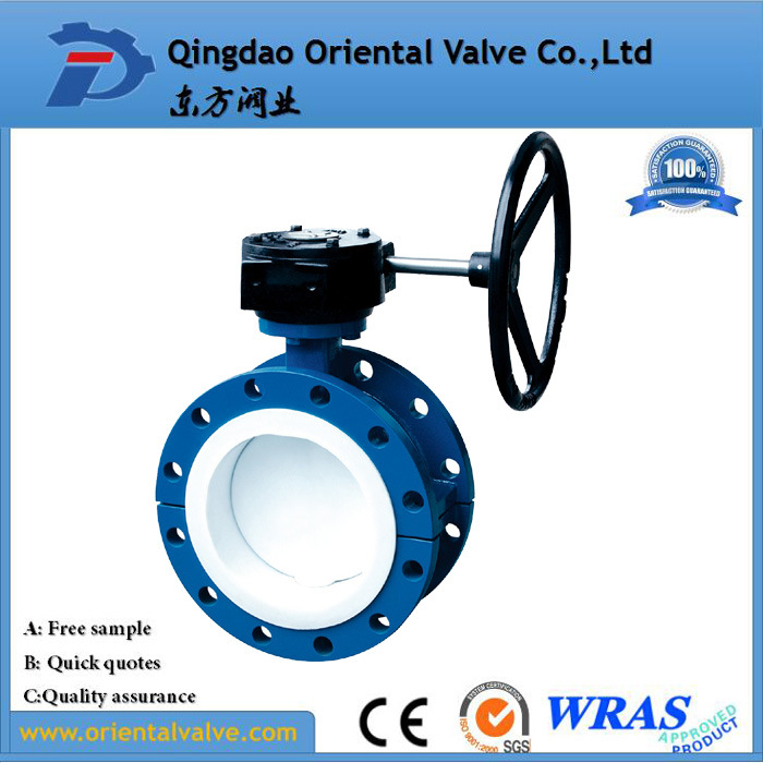 Dn150 Double Flange Aluminum Body Pneumatic Butterfly Valve