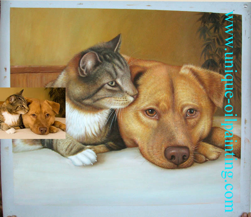 Oil Painting, Pets Oil Painting, Cat Oil Painting, Dog Oil Painting (UN-V1001)