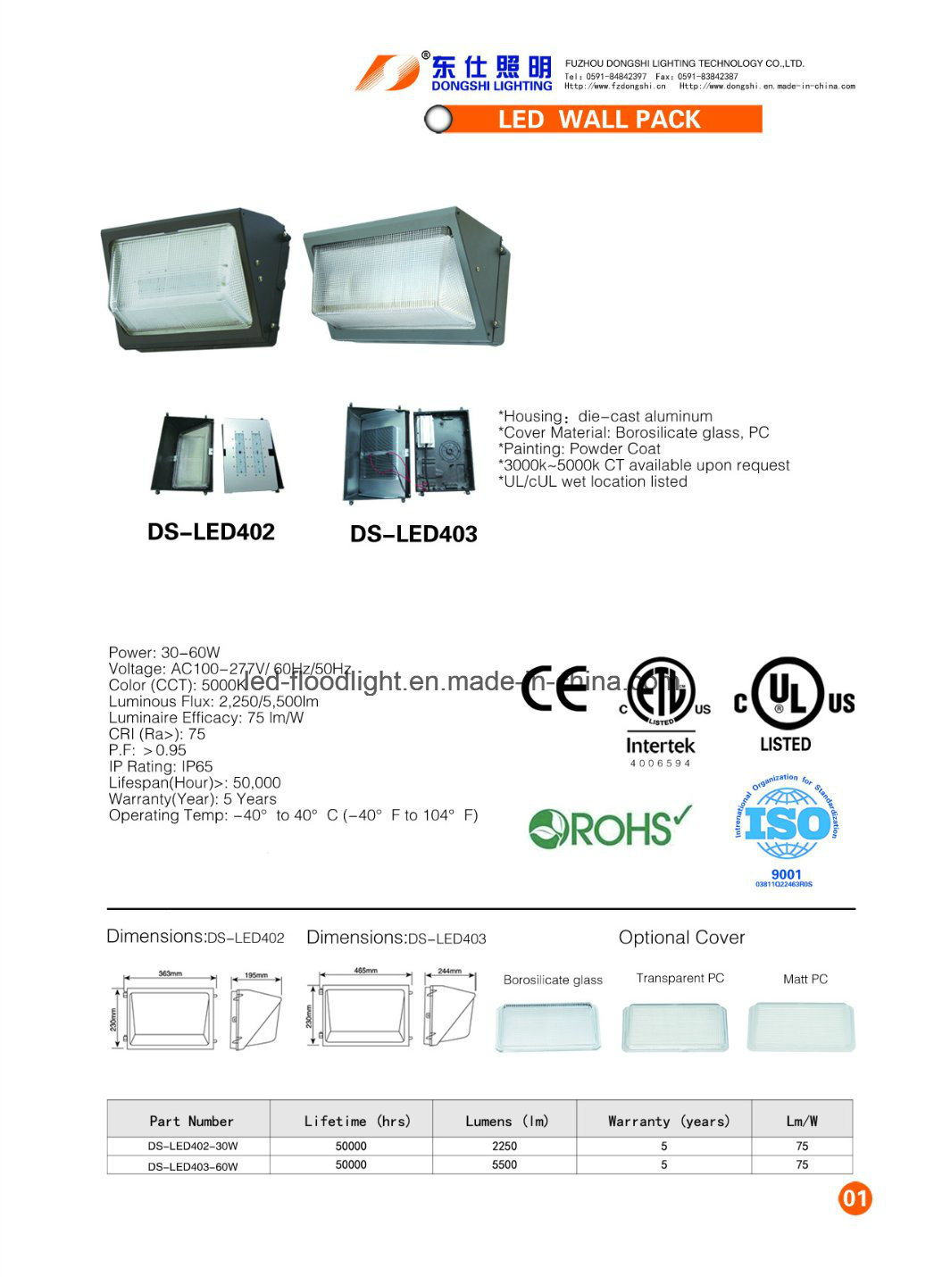 5 Years Warranty ETL 60W LED Wall Pack Light