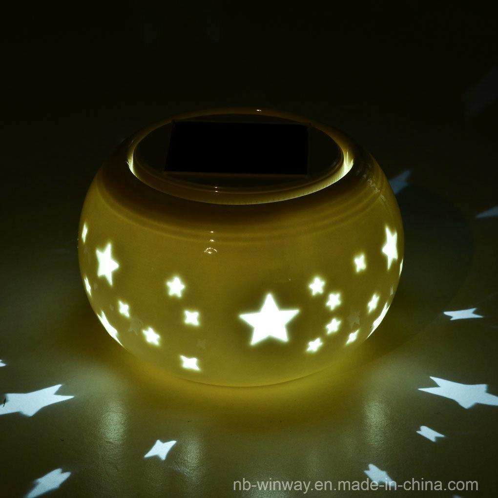 Solar Powered Table Ceramic Lantern