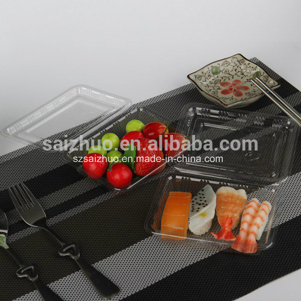 Rectangular Disposable Plastic Sushi Cake Snack Box