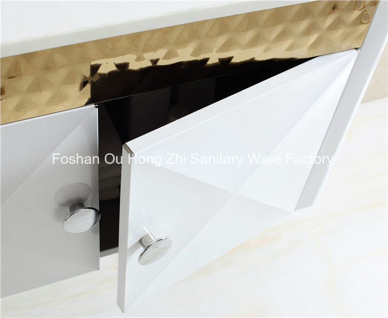 Golden White Stainless Steel Bathroom Vanity with Shelf for MID-East Country