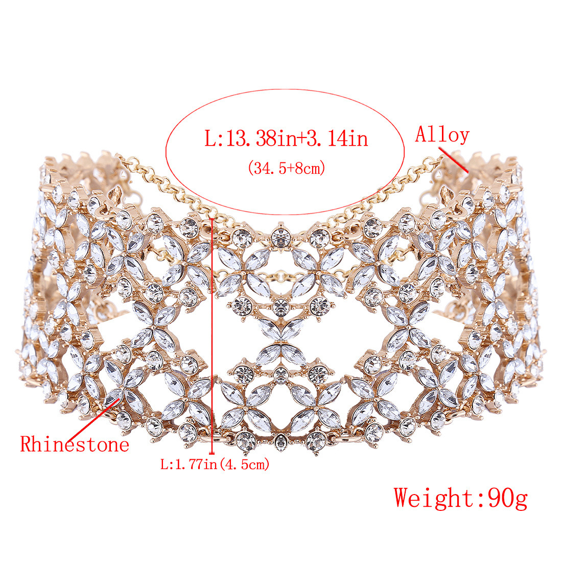 Fashion Luxury Glittering Full Rhinestone Diamond Wild Collar Choker Necklace Jewelry