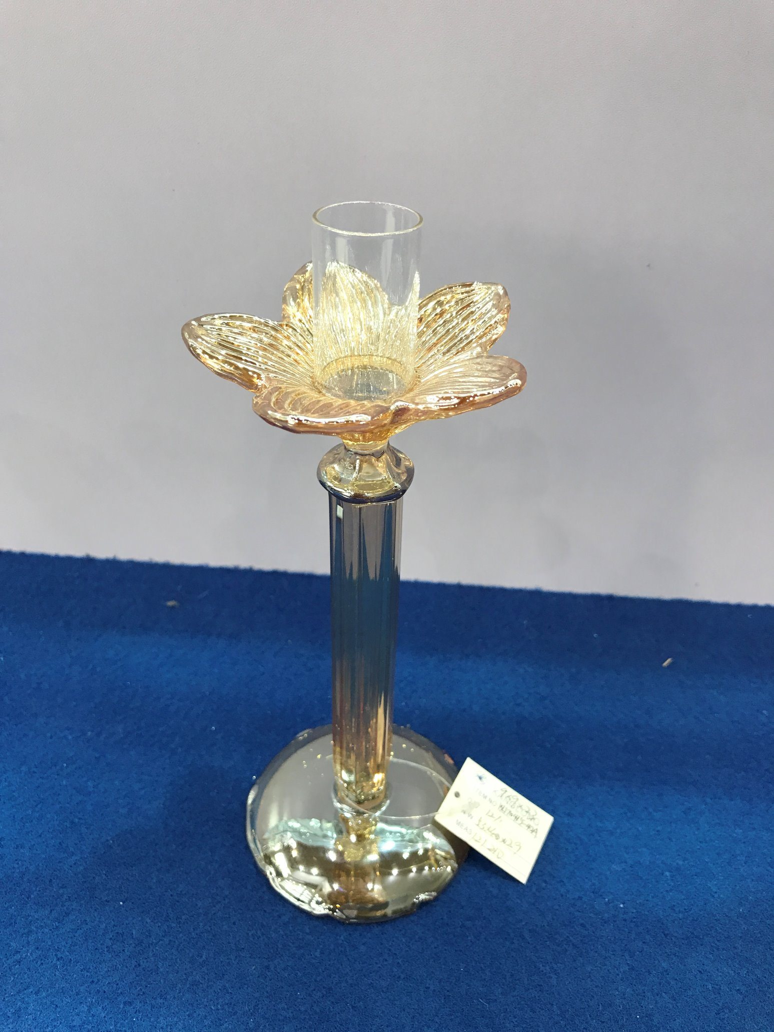 Metallic Gold Color Glass Candle Holder with Three Poster