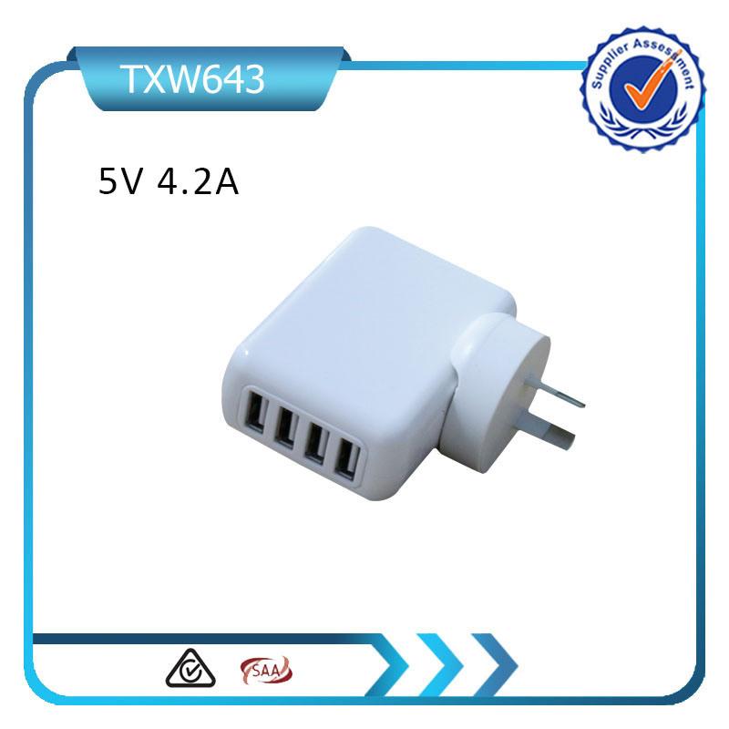 5V 4.2A Mini USB Charger 4 USB Wall Charger Removable Plug Travel Charger