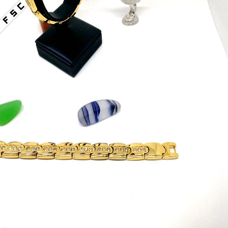Dubai Luxury Gold Zircon Stainless Steel Custom Bracelet for Women