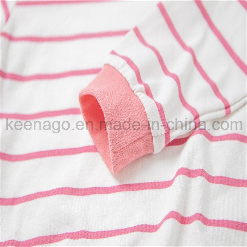 Girls Organic Cotton Fashion Popular Kid′s Long Sleeve Pajamas Suit